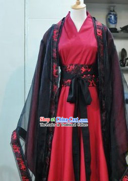 Ancient Chinese Red and Black Gentleman Clothes
