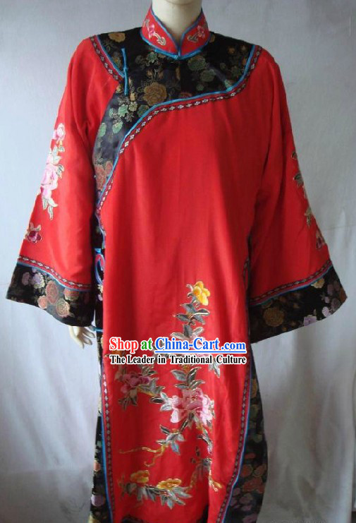Chinese Red Peking Opera Embroidered Peony Qipao Cheongsam
