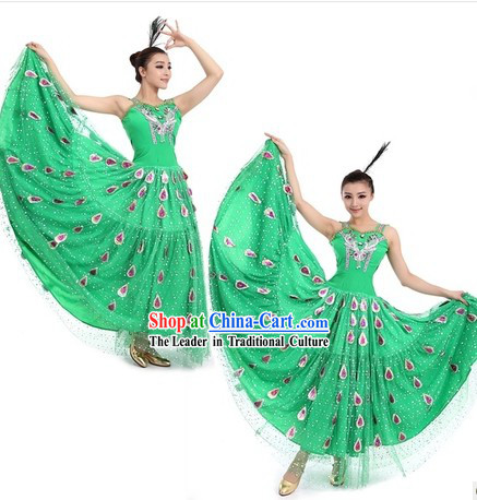 Green Peacock Dancing Costumes and Headpiece for Women