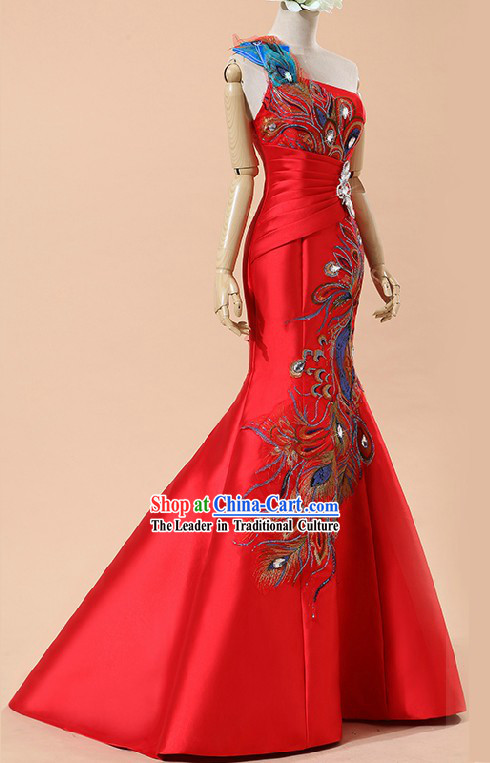 One Shoulder Modern Peacock Wedding Dress for Brides