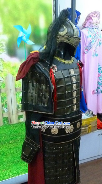 Ancient Chinese General Armor Costumes and Helmet for Men