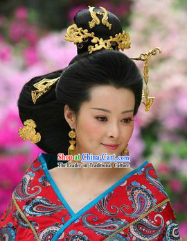 Ancient Chinese Imperial Empress Wig and Hair Accessories for Lady