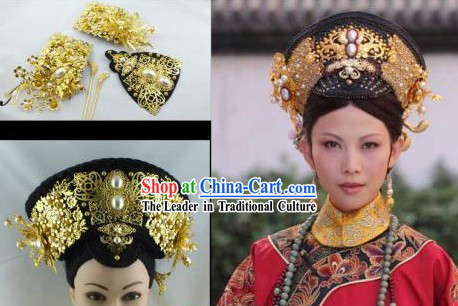 Qing Dynasty Empress Imperial Hair Accessories Manchu Hat and Wig for Ladies