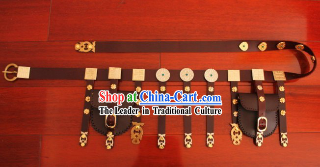 Ancient Chinese Tang Dynasty Handmade Leather Hanfu Clothing Belt for Men