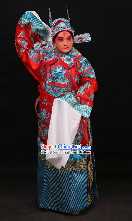 Traditional China Peking Opera Dragon Wedding Dress and Bridegroom Hat for Men