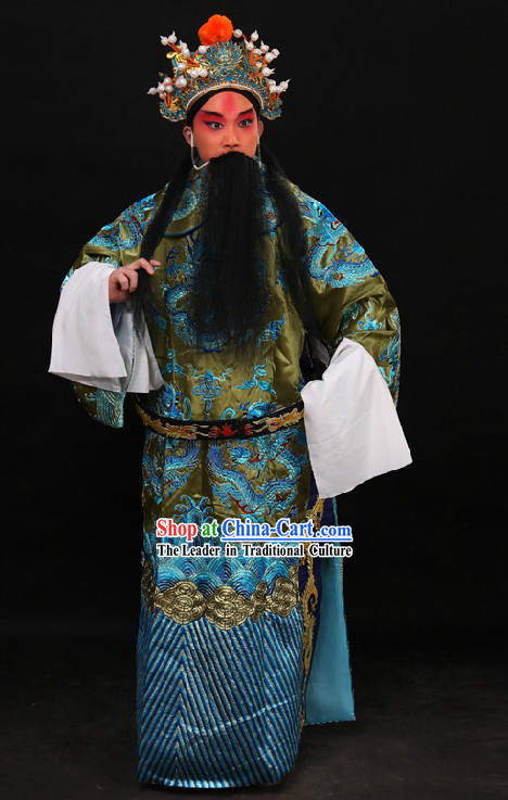 Chinese Beijing Opera Embroidered Dragon Robe and Helmet for Men