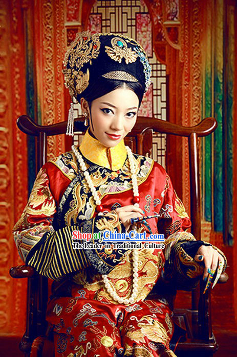 Qing Dynasty Imperial Empress Clothing and Crown Complete Set