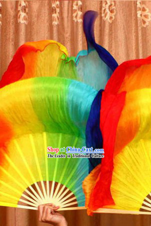 Rainbow Color Transition Long Silk Chinese Dance Fan