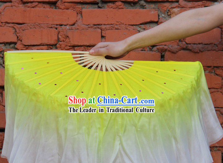 Double Sides Yellow to White Color Transition Silk Dance Fan