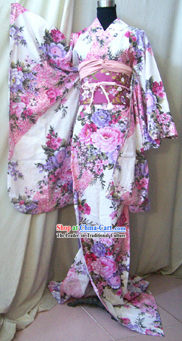Authentic Japanese Kimono Robe Complete Set for Women
