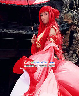 Red Chinese Style Fantasy Cosplay Long Wig