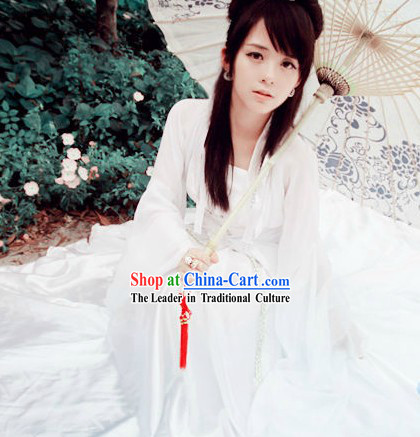 White Chinese Fairy Fantasy Cosplay Costumes for Women