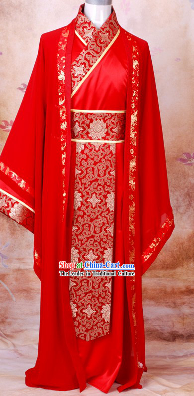 Ancient Chinese Red Bridal Wedding Dresses for Bridegrooms
