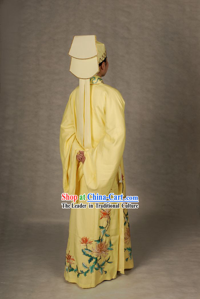 Ancient Chinese Light Yellow Young Men Robe and Hat for Men