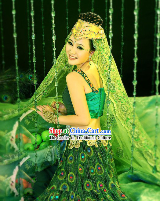 Green Chinese Peacock Dance Costumes and Headpiece for Women