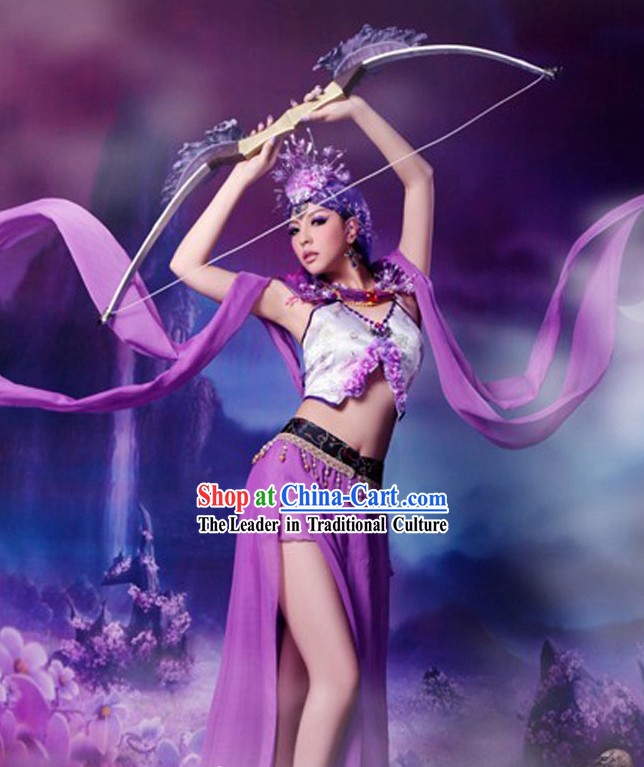 Ancient Chinese Dunhuang Fei Tian Dancer Costumes and Headpiece for Women