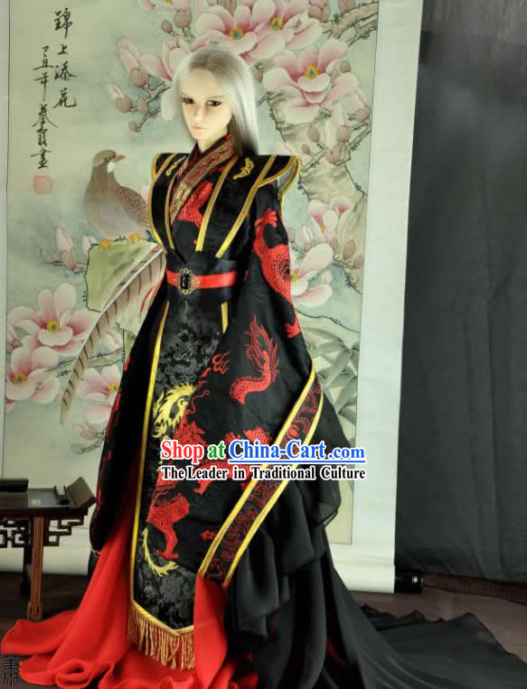 Ancient Chinese Black Dragon Costumes for Men