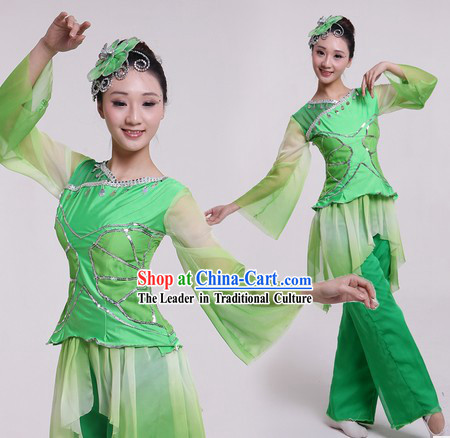 Chinese Classical Lotus Dance Costumes and Headpiece for Women