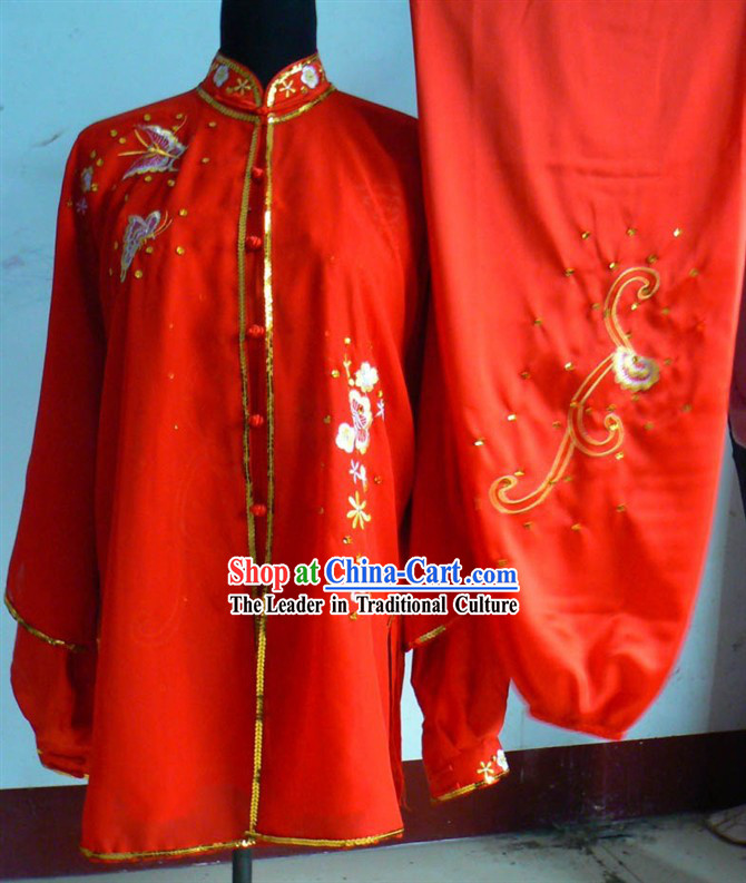 Red Flower Embroidery Martial Arts and Tai Chi Outfit Complete Set for Women