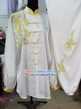 White Phoenix Embroidery Martial Arts and Tai Chi Uniform Complete Set for Women