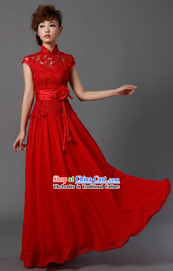 High Collar Chinese Classical Red Wedding Skirt and Hair Accessories for Brides