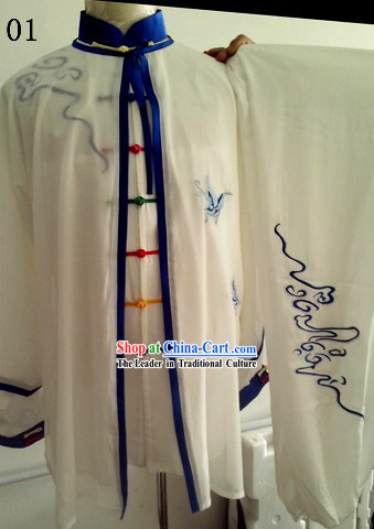 Traditional Chinese White Kung Fu and Tai Chi Martial Arts Uniform Complete Set