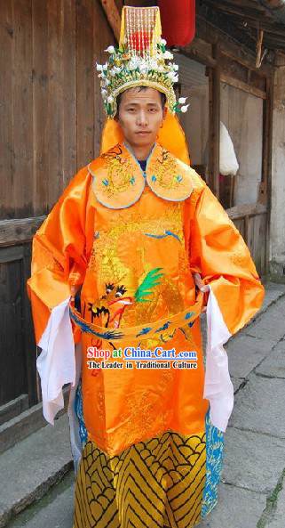 Ancient Chinese Legend Jade Emperor Costume and Crown for Men