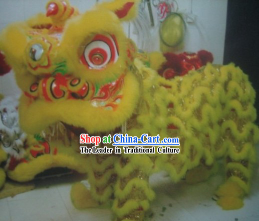 Yellow Traditional Chinese Lion Dance Performers Costume Complete Set