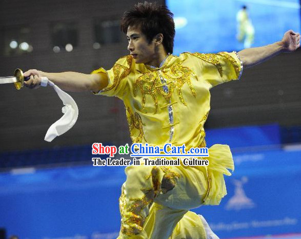 Top Grade Kung Fu Yellow Short Sleeve Long Sword Kung Fu Contest Uniform for Men