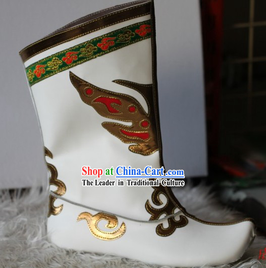 Traditional White Chinese Mongolian Boots for Men