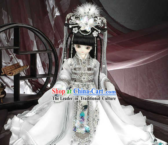 Pure White China Princess Cosplay Complete Set for Kids