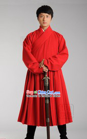 Red Ancient Chinese Han Fu Clothing Complete Set for Men