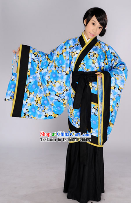Traditional Chinese Blue Flower Quju Outfits fo Girls