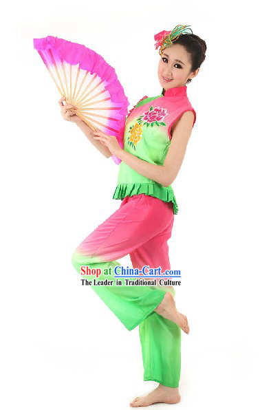 Chinese Spring Festival Celebration Mo Li Hua Fan Dance Costumes and Hair Accessories