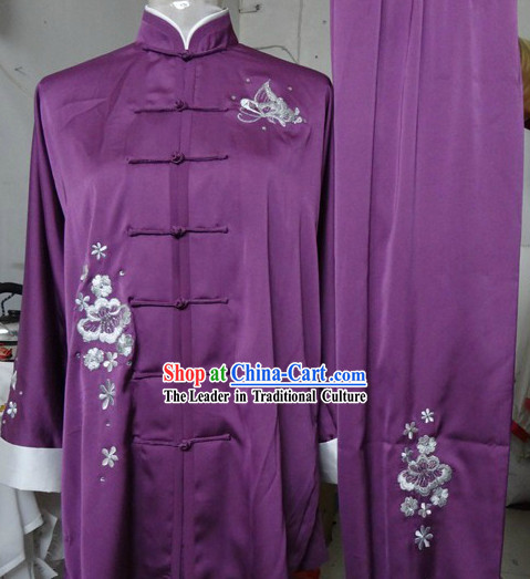 Traditional Chinese Purple Embroidered Flower Silk Kung Fu Tai Chi Uniform
