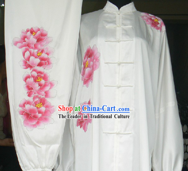 Traditional Chinese White Embroidered Peony Silk Tai Ji Outfit