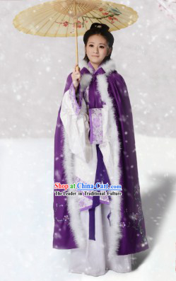 Ancient Chinese Winter Plum Blossom Cape and Inside Hanfu Apparel Complete Set