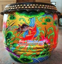 Chinese Classical Hands Painted Carp and Lotus Lion Dance Drum