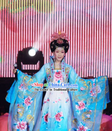 Chinese Classical Blue Yang Guifei Opera Stage Performance Clothing Suit