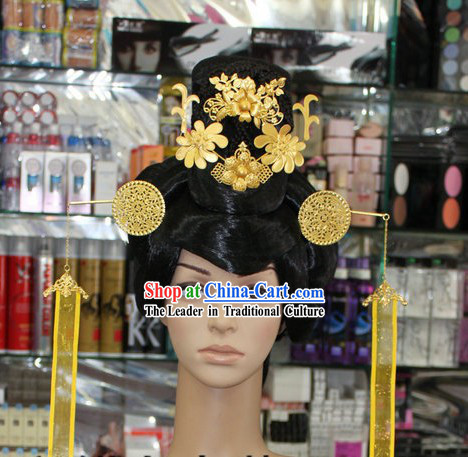 Ancient Chinese Palace Imperial Female Official Wig and Hair Accessories