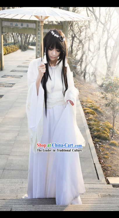 Pure White Ancient Chinese Fairy Outfit and Headdress for Women