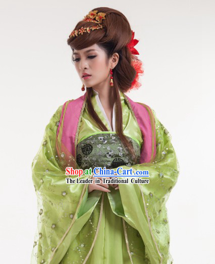 Green Long Trail Ancient Chinese Tang Dynasty Skirt for Women
