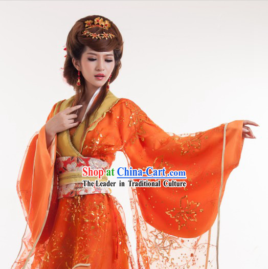 Orange Long Trail Ancient Chinese Tang Dynasty Outfit for Women