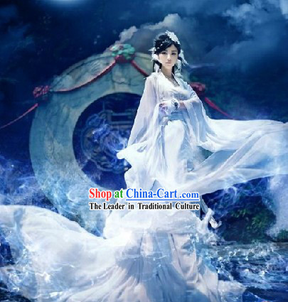 Pure White Ancient Chinese Film Character Fairy Costume for Women