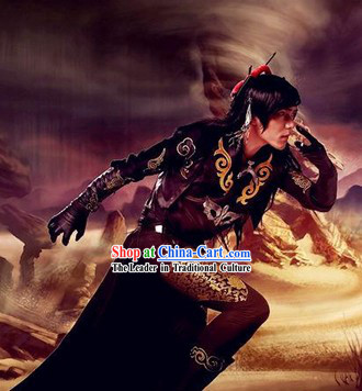 Ancient Chinese Black Swordsman Cosplay Costume for Men