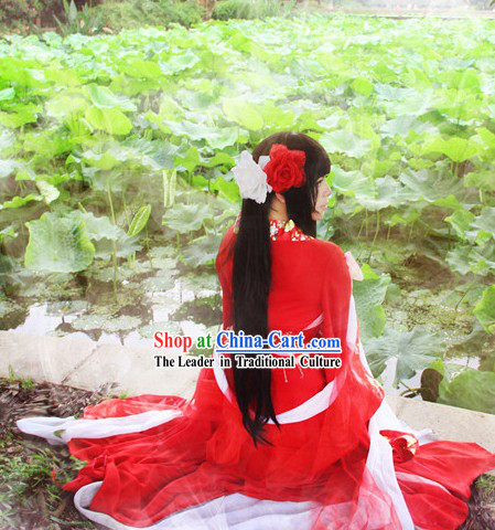 Ancient Chinese Red Princess Cosplay Costumes Complete Set