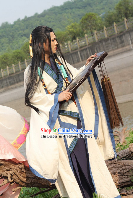 Ancient Chinese White Swordsman Costumes Complete Set for Men