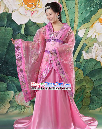 Chinese Pink Tang Dynasty Imperial Palace Princess Clothes for Women