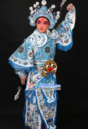 Chinese Opera Hero Wusheng General Character Suit and Hat