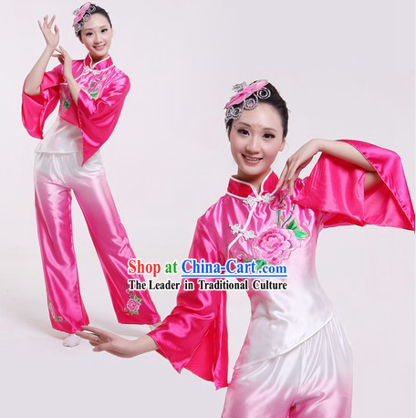 Traditional Chinese Colour Transition Fan Dance Costume for Women